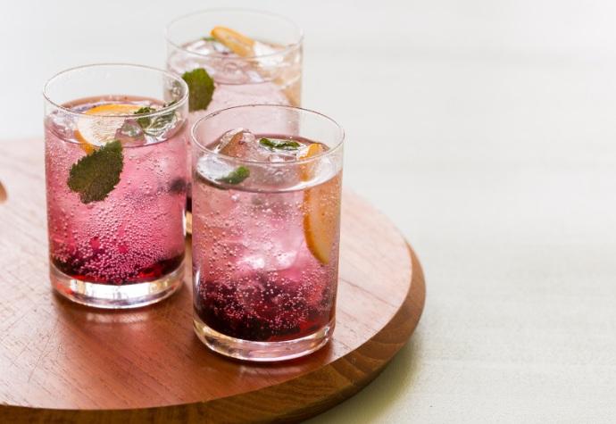 Gin tonic de mora y limón