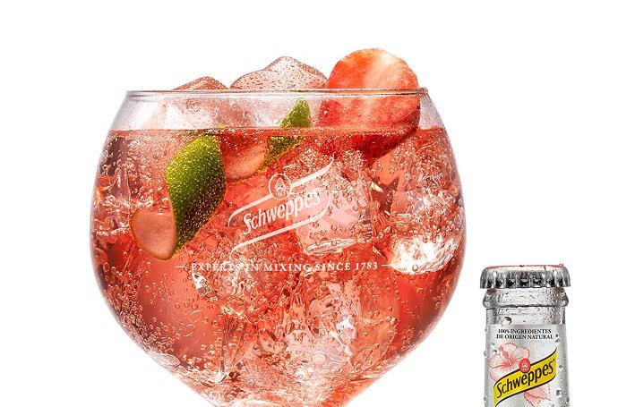 Gin tonic de fresas y frambuesas