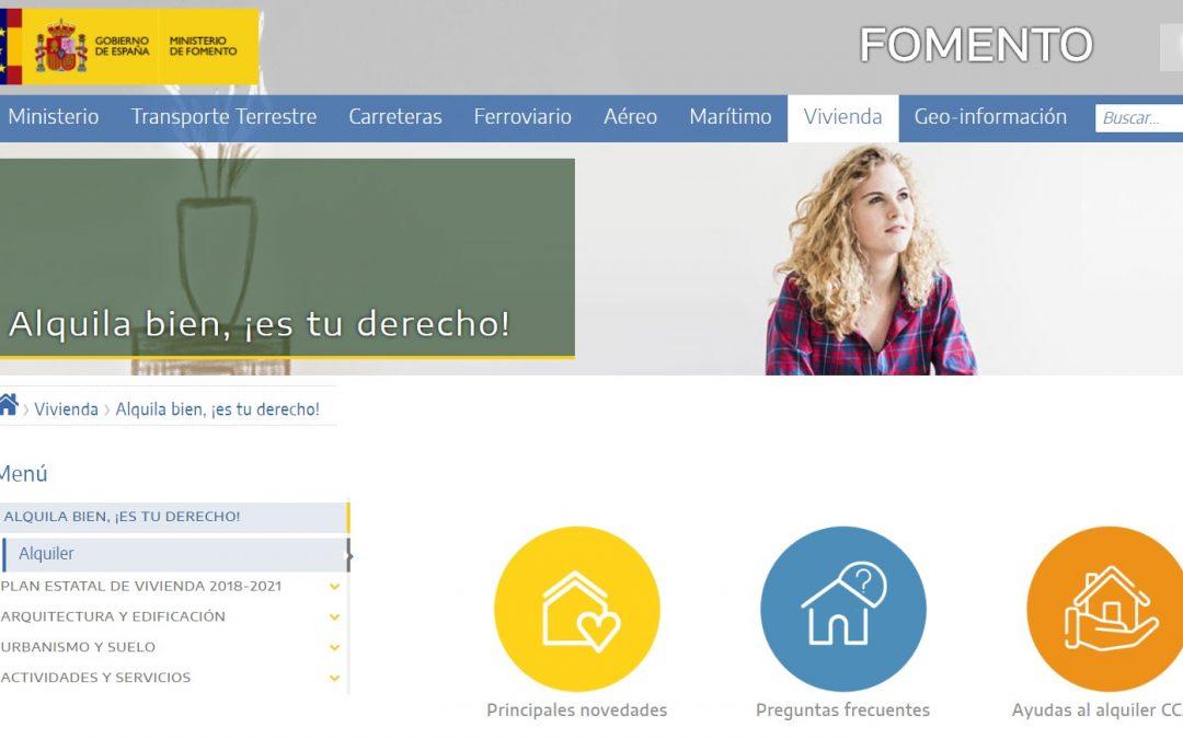 Nueva web de Fomento sobre el alquiler de vivienda